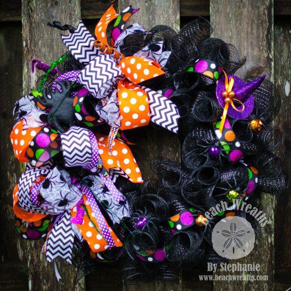 Halloween Deco Mesh Wreath Spiders Deco by BeachWreathsnThings