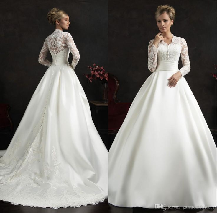 Modest Wedding Dresses Sleeves Amelia Sposa 2015 High Neck A Line Chapel Train White Lace And Satin Muslim Bridal Gowns Hijab Dresses Wedding Dress Prices Wedding Dresse From Garmentfactory, $170.86| Dhgate.Com