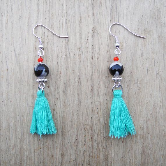 Coucou Suzette // Tassel earrings / Neon Earrings / Boucles d'oreilles Pendantes / elegant bib earrings Boho earrings / boucles d oreilles ethniques pompoms