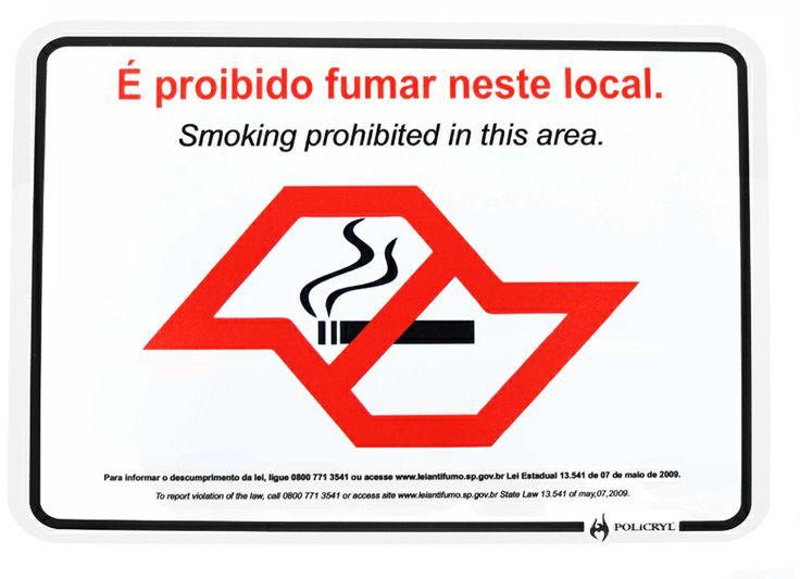 AVISO DE PROIBIDO FUMAR.  Notice of no smoking.