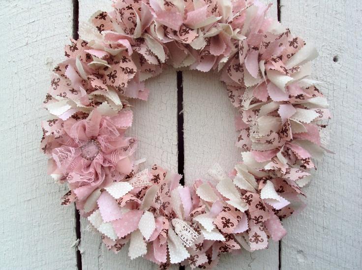 Shabby Chic Wreath, Pink and Brown Fabric Wreath, Baby Girl Nursery Wreath. $40.00, via Etsy.