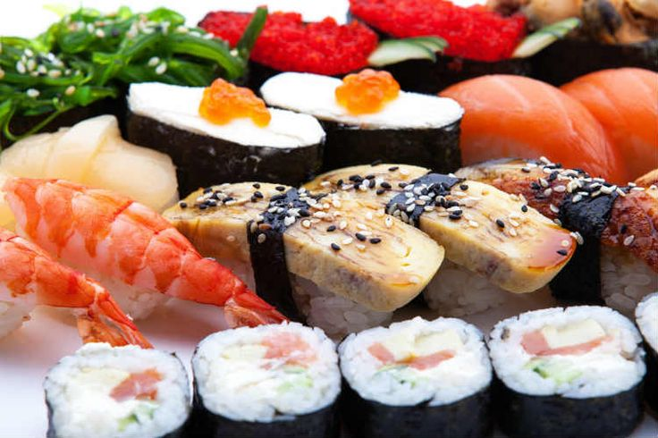 Sushi Beginner's Guide: a platter with an assortment of different types of sushi