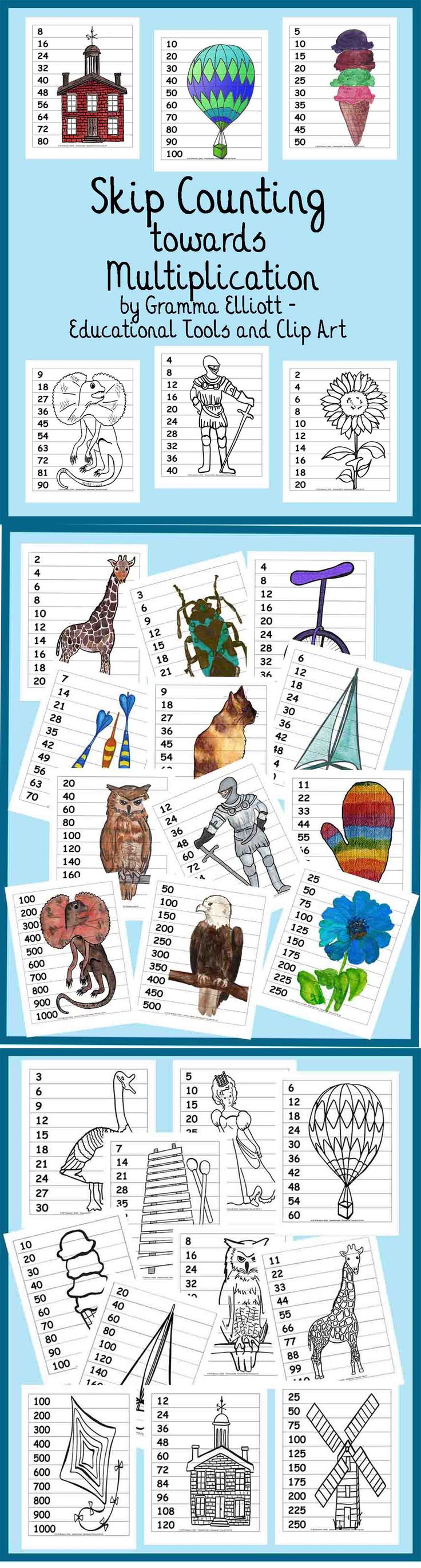 Bilingual dolphin counting card 6 clipart etc - Skip Counting Towards Multiplication Puzzle Posters Or Wipe Off Cards