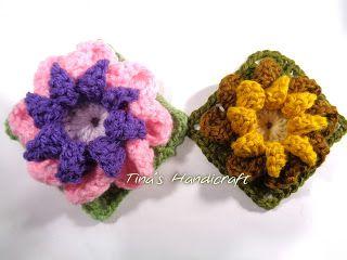 Tina's handicraft : 3D crochet flower in square motif