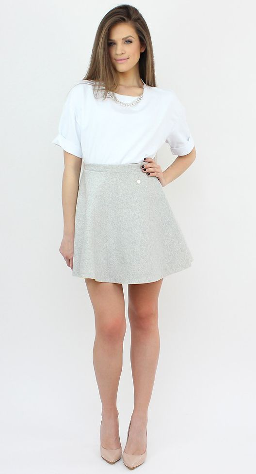 Casual Grey Flared Skirt for a versatile look.  #shopping #casual #skirt #style #fashion