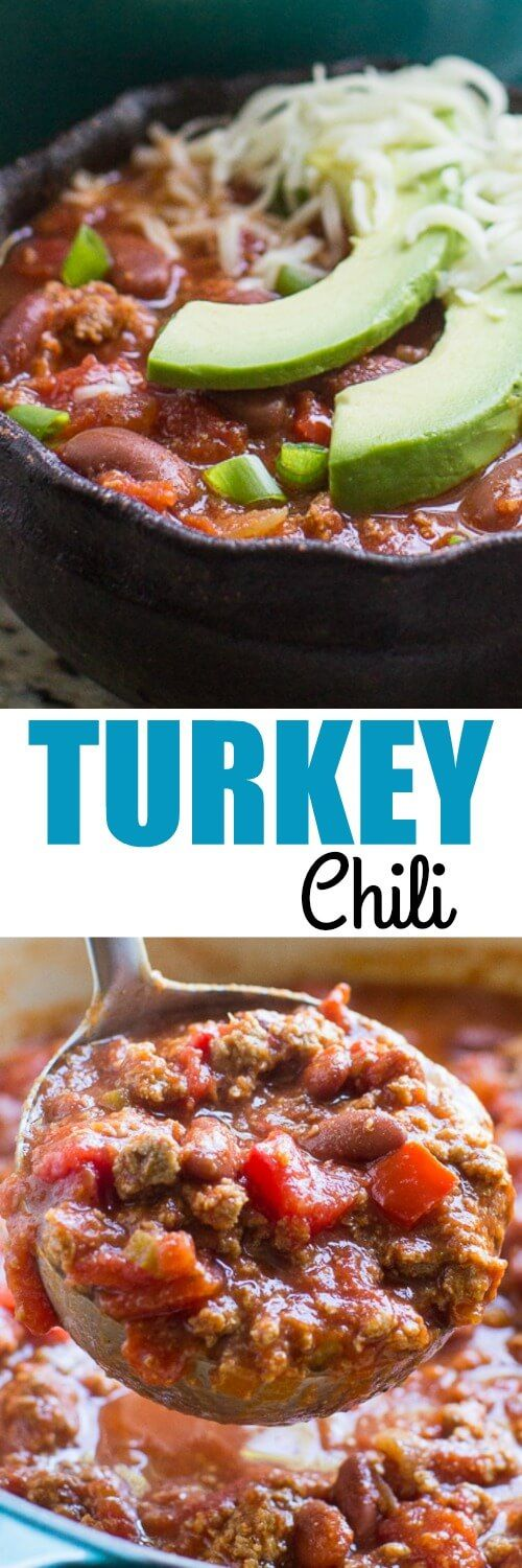 My favorite chili recipe updated with ground turkey! This easy, healthy Turkey Chili recipe will keep you full without weighing you down.