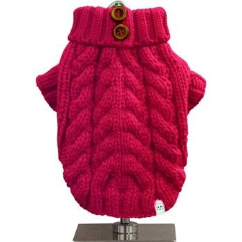 FouFou Dog Urban Knit Dog Sweater in Fuchsia