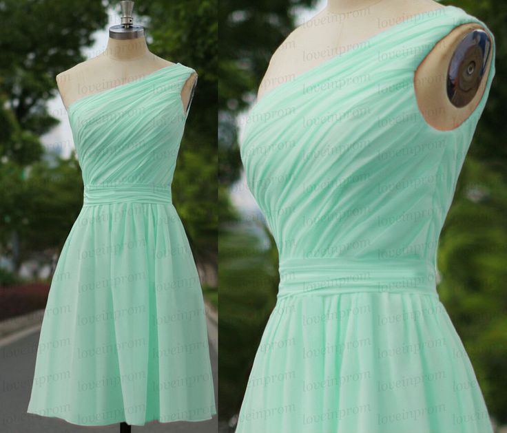 Mint green bridesmaid dress,one shoulder mint party dress,handmade chiffon wedding party dress/prom dress/short mint bridesmaid gown by loveinprom on Etsy https://www.etsy.com/listing/205027862/mint-green-bridesmaid-dressone-shoulder