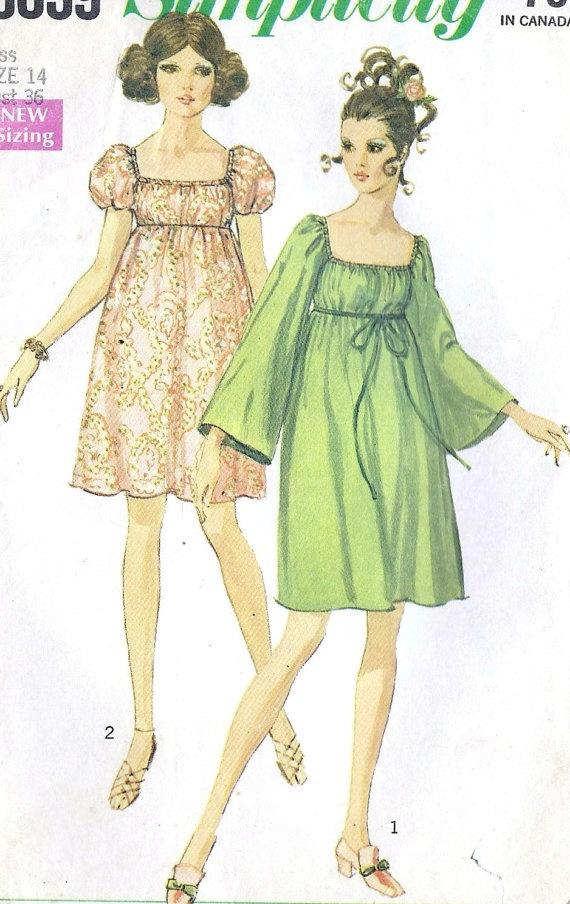 1960s Misses Empire Waist Dress Vintage Sewing by MissBettysAttic, $8.00