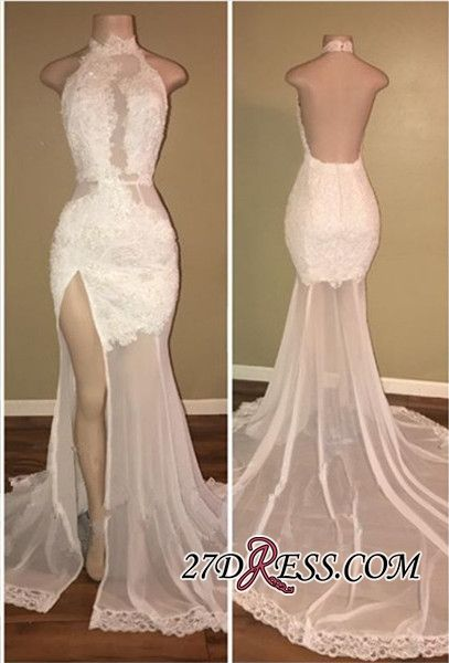62c7f119c02 Elegant White Lace Halter 2018 Prom Dress Mermaid Backless Party Dress With  Slit High Quality Wedding Dresses