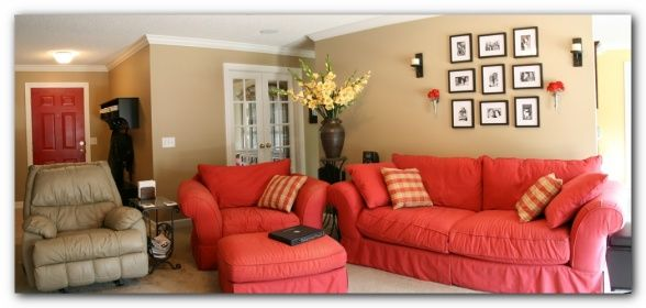 red couch  latte walls living room  first posting to rms red couches living room Living Room Furniture