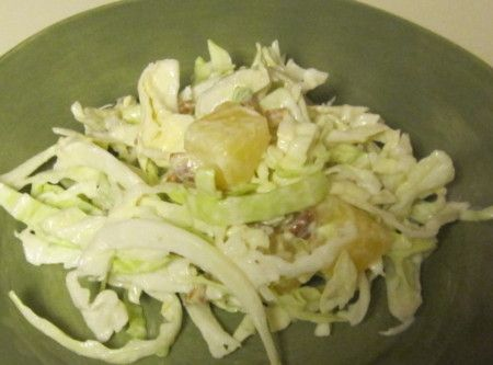 Cabbage Pineapple Salad Recipe ~~ http://www.justapinch.com/recipes/salad/fruit-salad/mamas-cabbage-pineapple-salad.html