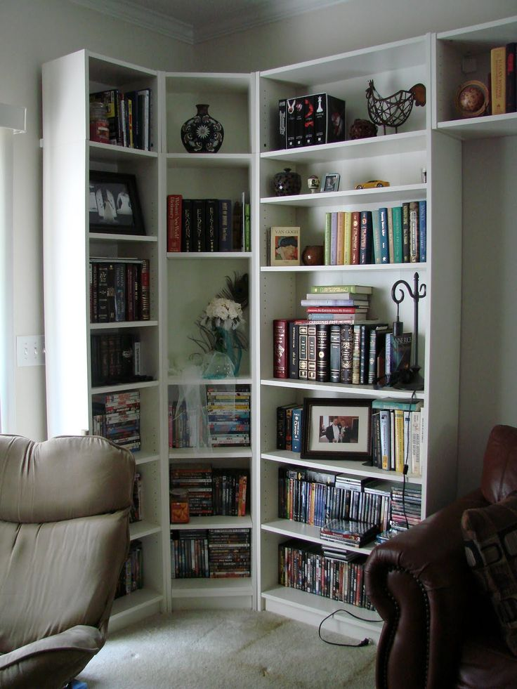 Living Room With Bookshelf: 17 Best Images About Corner Bookshelves On Pinterest