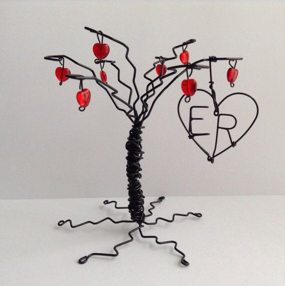 THE HEART TREE: Small Black Tree Wedding Cake Topper with Antique Red Hearts and Personalized Heart on Etsy, $29.00