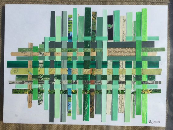 green framed paper weaving by BrokenpiecesArt on Etsy