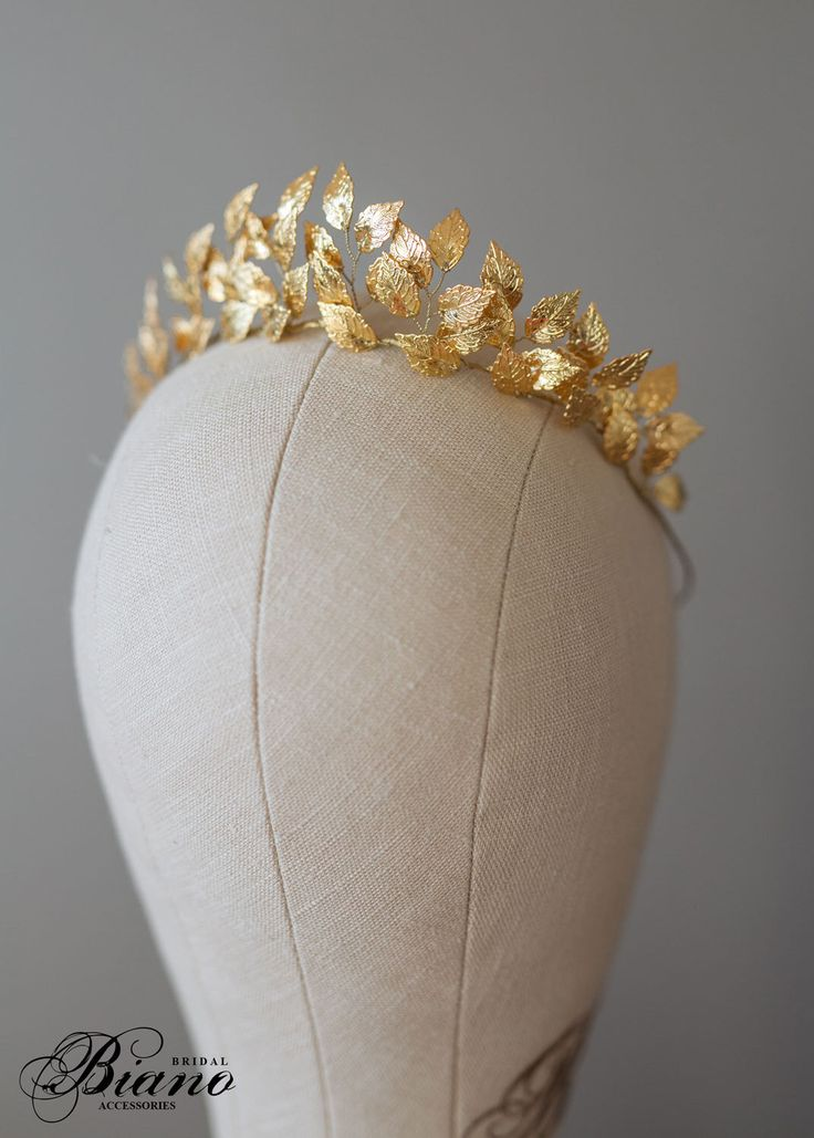 Greek Goddess Leaf Crown, Wedding Leaf Headband, Woodland, Leaf Branch, Wedding Tiara, Queen Wedding Headpiece, Gold Leaf Tiara EFTHALIA