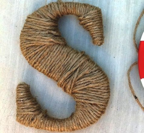 Rope wrapped nautical decorative letter. Beach house perfect (I wish!).