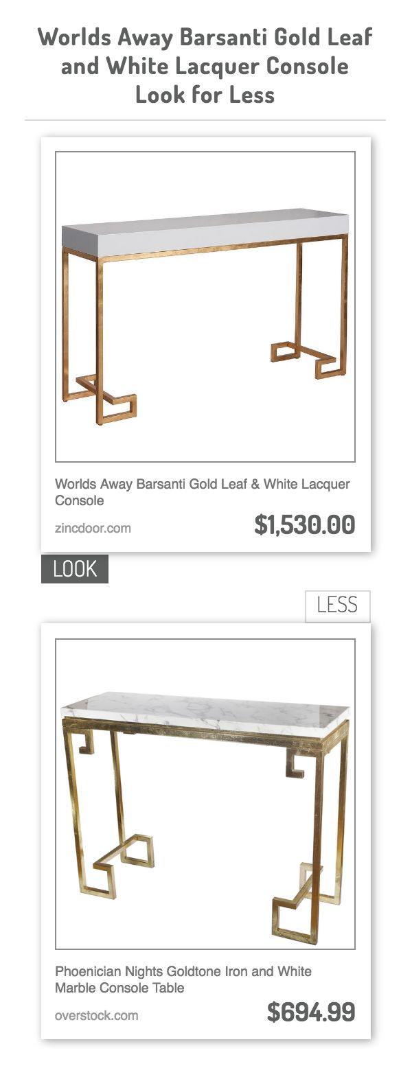 Modern hallway storage gold console table gold metal console table - Worlds Away Barsanti Gold Leaf White Lacquer Console Vs Phoenician Nights Goldtone Iron And White