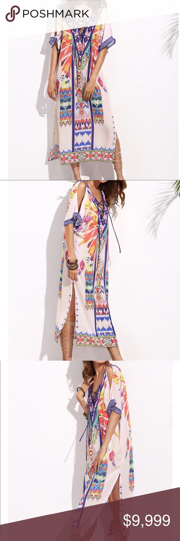 Colorful Tribal Boho Kaftan Coverup Kimono Colorful Tribal Boho Lace up Slit Leg…