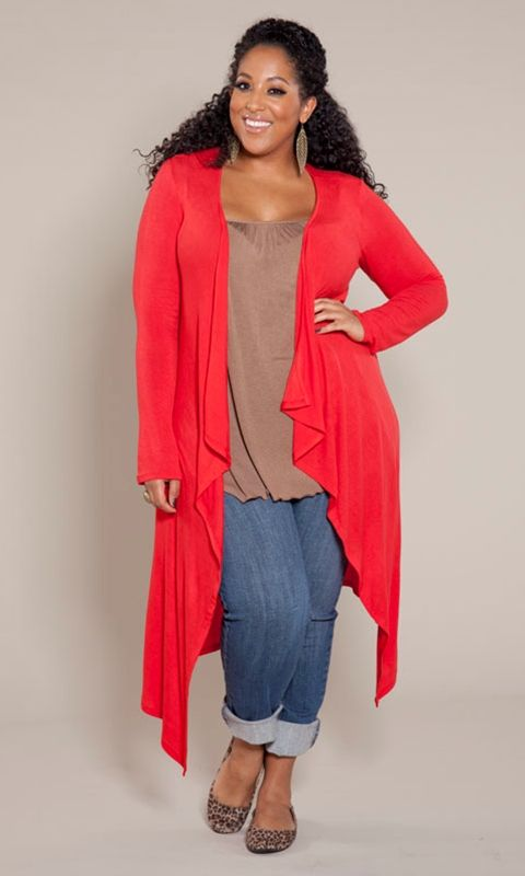 An essential long, light-weight plus size sweater cardigan that's virtually season less in possibility! The ultimate in layering versatility, pair with a long sleeve tee or our Pretty Cami now. Wear it over a maxi in the spring and summer!
