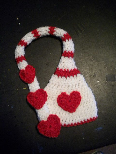 Crochet Valentine Hat : Valentine Red Hearts Newborn Elf Crochet Hat