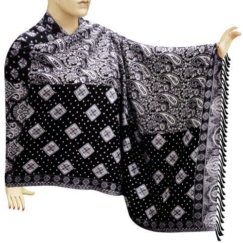 Black And White Cotton Neck Wear Scarf Stole With Four Different Self Designs - stle0139rr Royal Kraft. $65.00