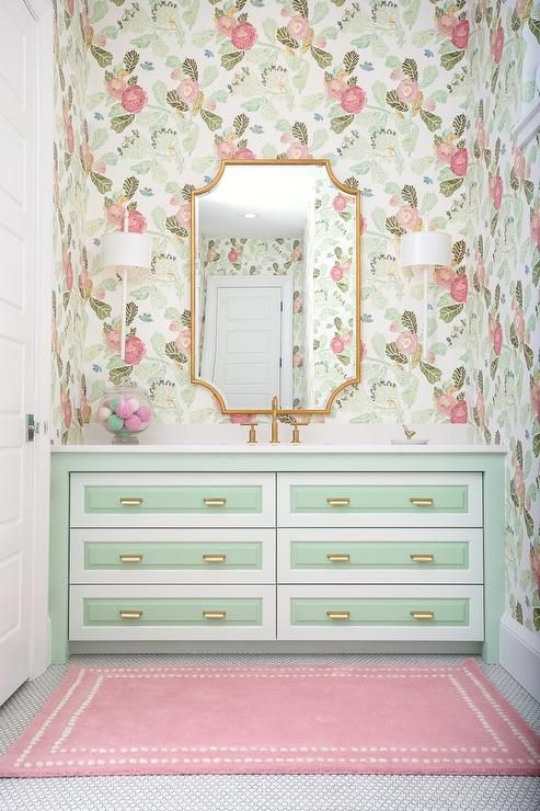 Anthropologie Watercolor Flora Wallpaper Bathrooms