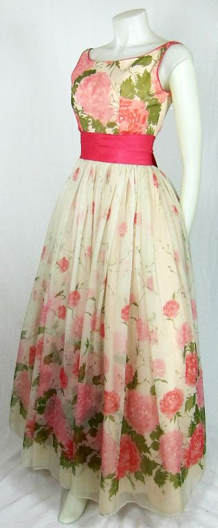 VINTAGE Emma Domb WHITE w PINK ROSES CHIFFON DRESS 1960's