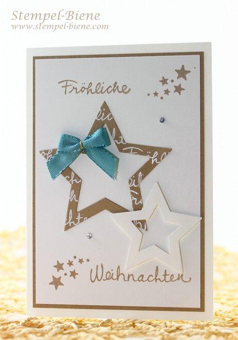 Stampin Up Weihnachtskarte; Stampin Up Frühjahrskatalog; Stampin Up Geschenke fürs Team; Stampi Up Framelits Stern-Kollektion; Stampin Up Wünshe zum Fest