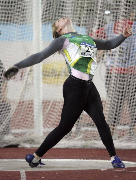 """discus drills and throwing progressions Standing throw a """"prep-swing"""" using a good heel-toe relationship 1) same as  before b power position 1) discus """"floats"""" away and around body to high point ."""
