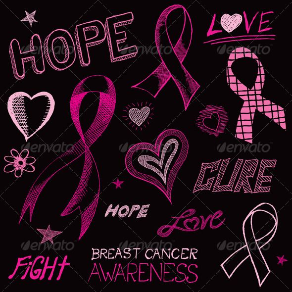 breast cancer pink ribbon black background breast cancer
