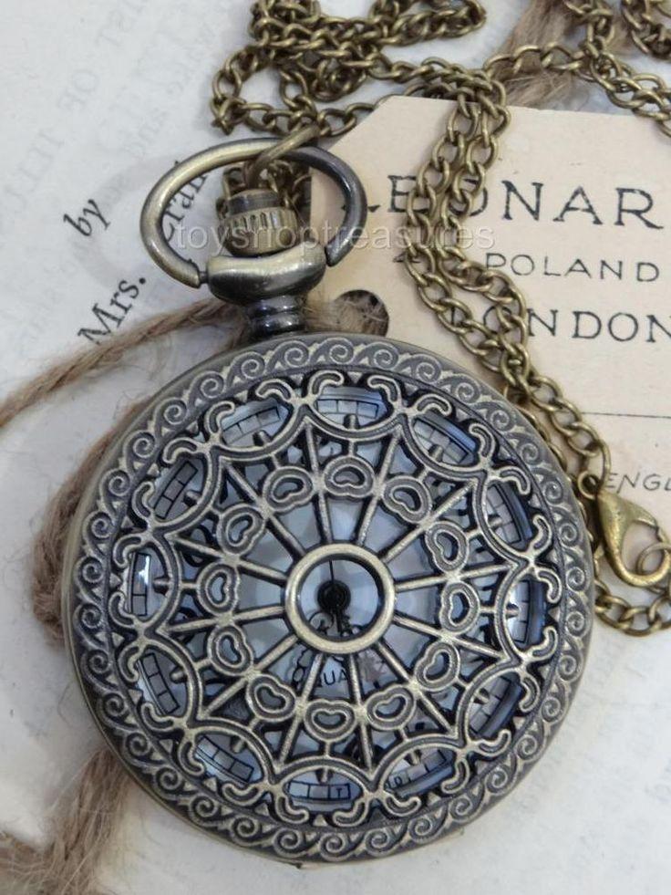 Vintage style Bronze Spider Web Fob Pocket WATCH Pendant Necklace STEAMPUNK