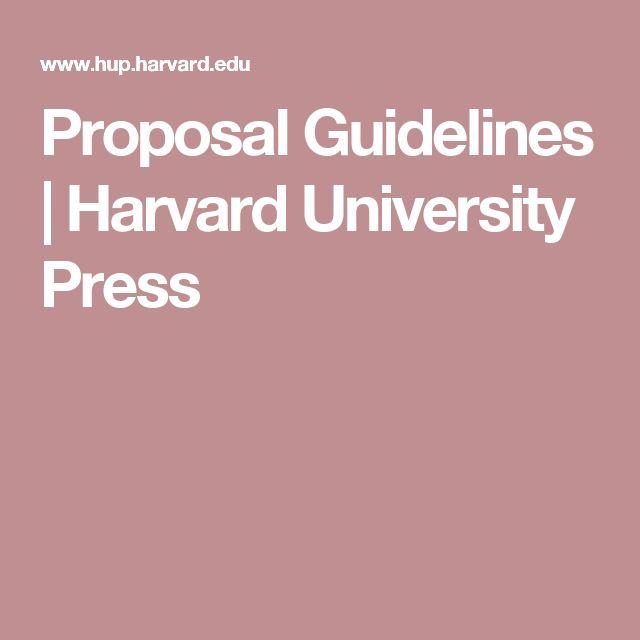 Proposal Guidelines   Harvard University Press