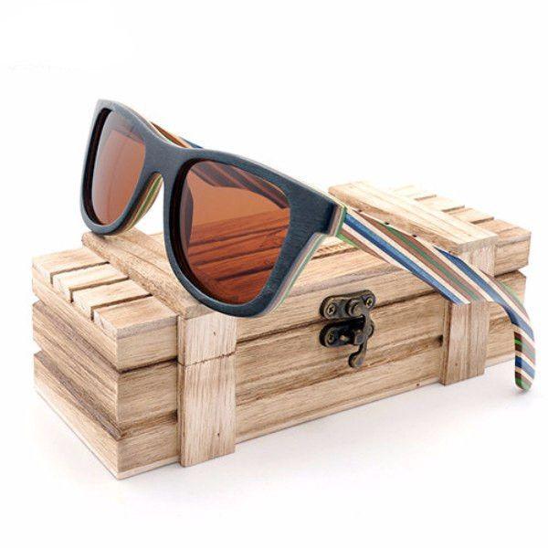 4e6c252c361 Hippie Stripes Wayfarer Bamboo Wood Sunglasses  2 Variants