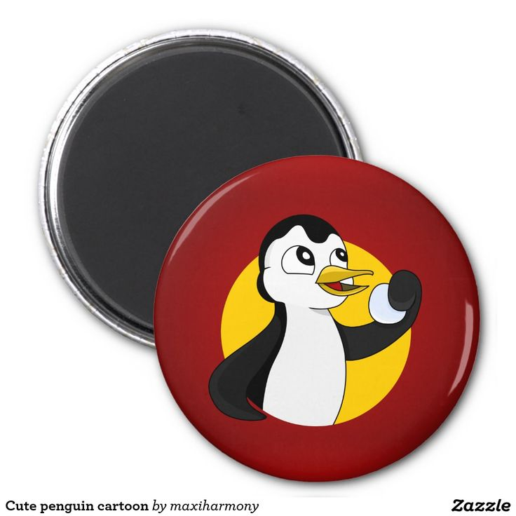 Cute penguin cartoon 2 inch round magnet