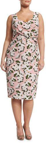 Marina Rinaldi Depliant Sleeveless Flower-Print Sheath Dress, Plus Size