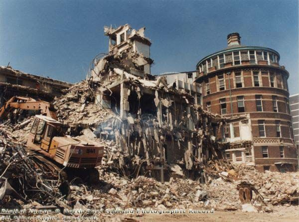 Demolition of the Trent Wing, and showing the Jubilee Wing, General Hospital, 1994