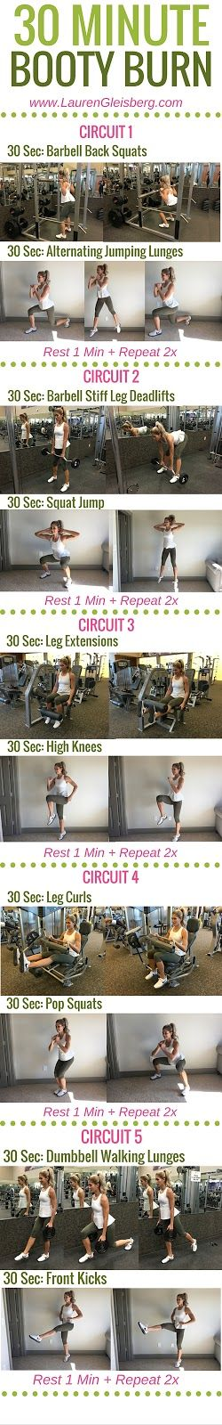 30 MINUTE BOOTY BURN WORKOUT (gym version) - Day 1 of LG Fitmas Challenge   www.LaurenGleisberg.com