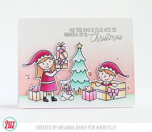 Melania Deasy for Avery Elle Supplies: Elf-tacular Clear Stamps Elf-tacular Ellements Chalet Clear Stamps Chalet Ellements Dotted Borders Ellements