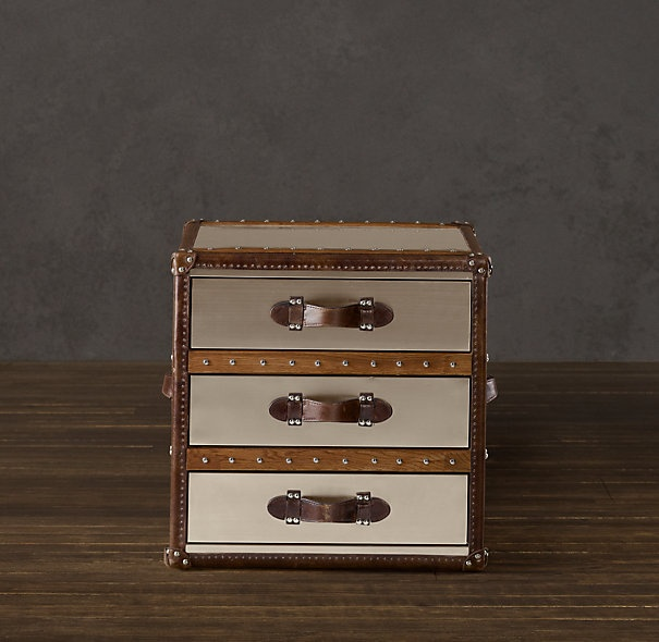 Restoration hardware mayfair steamer cube with drawers for Who manufactures restoration hardware furniture