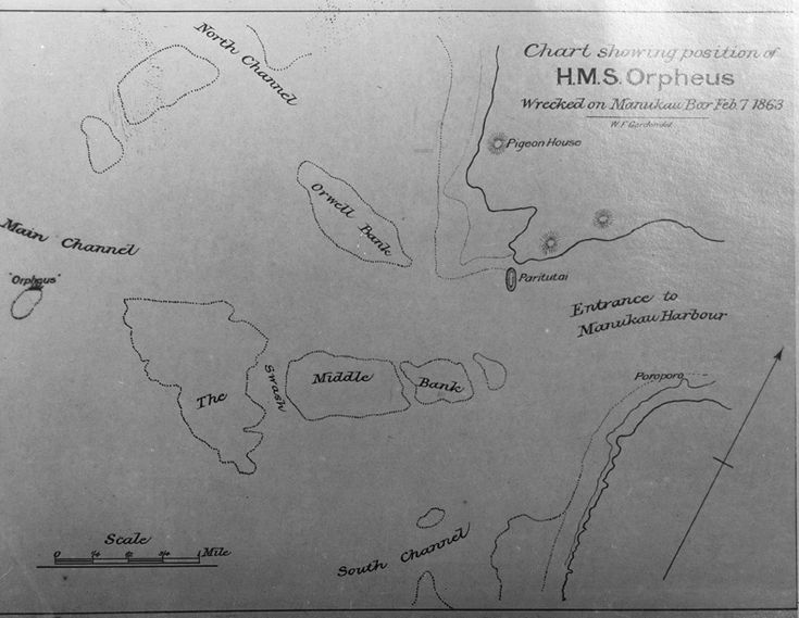 1863. Map showing the position of the 'H M S Orpheus' that was wrecked on the Manukau bar on 7 Feb 1863. Sir George Grey Special Collections, Auckland Libraries, 4-708.