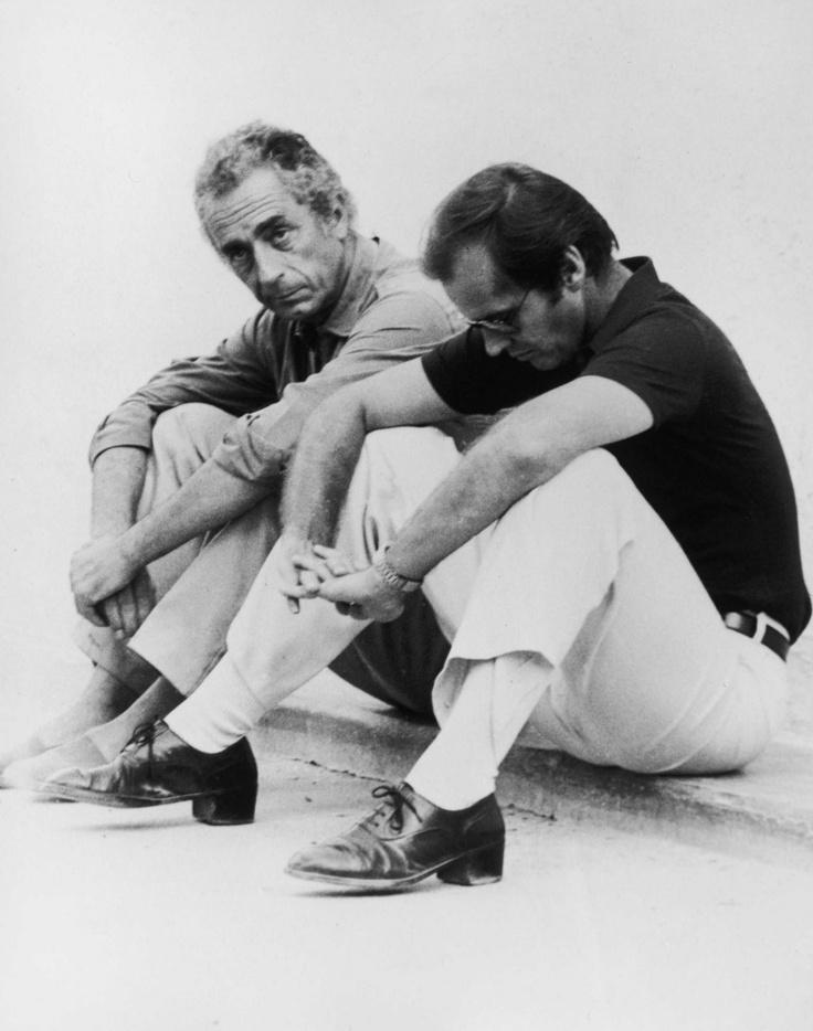 Michelangelo Antonioni and Jack Nicholson on-set of The Passenger (1975)