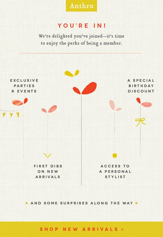 #Anthropologie | welcome | WelcomeEmails | emailmarketing | email | newsletter | welcome newsletter | welcome email | WelcomeEmail | relationship emails | emailDesign