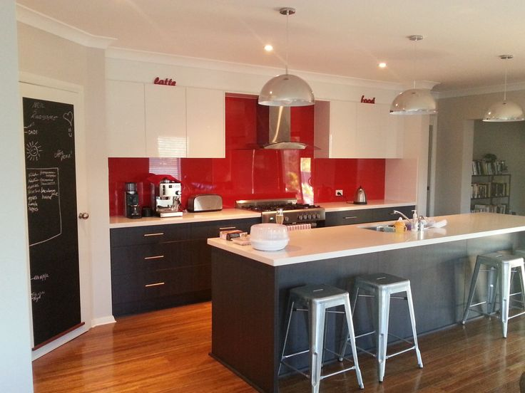 Red kitchen splashback, charcoal and white. Manufactured and installed by…