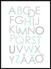 ABC poster till barn. Snygg alfabetstavla med ljusblått och grått.