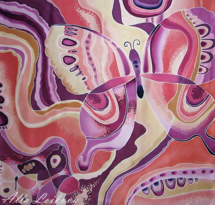 """Купить Атласный шелковый платок """"Фантазийная бабочка"""" - разноцветный, рисунок, Батик, горячий батик"""