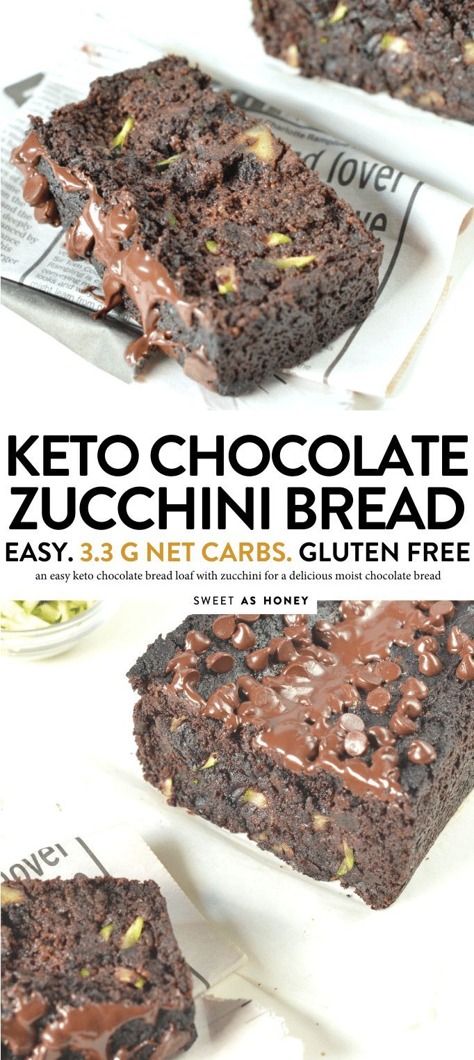 KETO CHOCOLATE ZUCCHINI BREAD seulement 3,3 g de glucides nets #ketobread #keto #chocolate # …