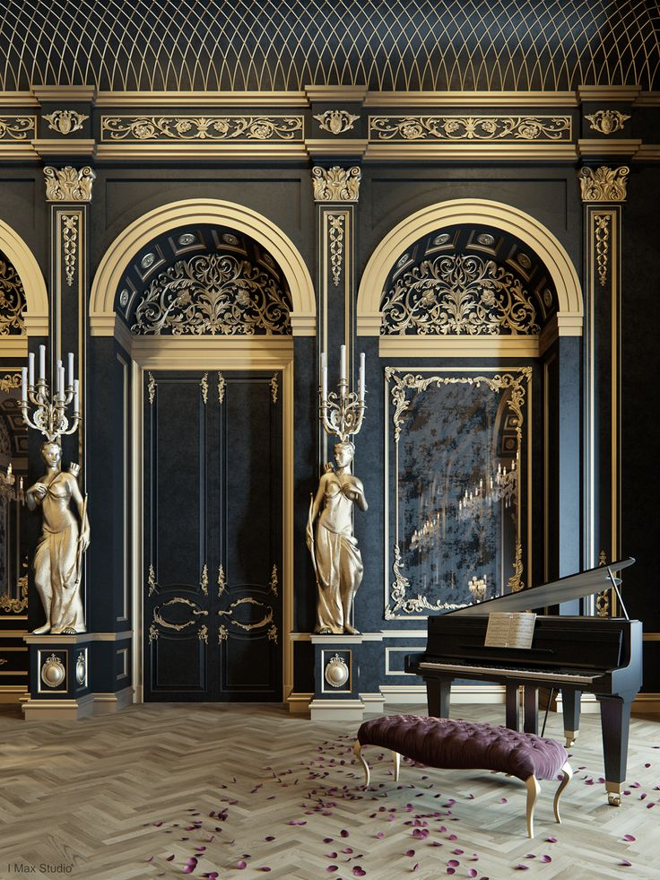Blackum mixing between gold black color in luxury for Interior design styles