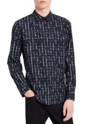 Calvin Klein Jeans Men's Long Sleeve Over Printed Check Shirt - Bright Cobalt - 2Xl