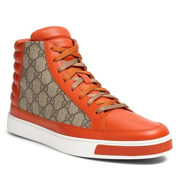 Gucci 'Common' High-Top Sneaker ($650) ❤ liked on Polyvore featuring men's fashion, men's shoes and men's sneakers